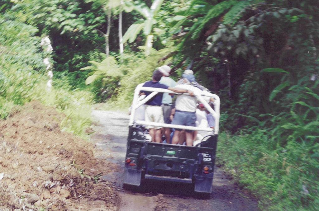 Safarijeep med Margareta ombord. December 2000.